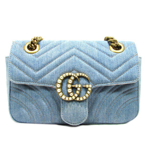 6bec7f88e82427 Gucci Marmont Pearl GG Limited Ed Denim Matelasse Crossbody Bag ...