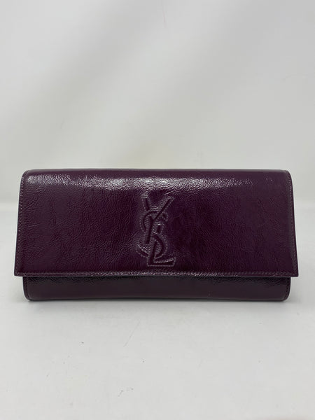 Saint Laurent Small Belle de Jour Texturized Calfskin Clutch Burgundy