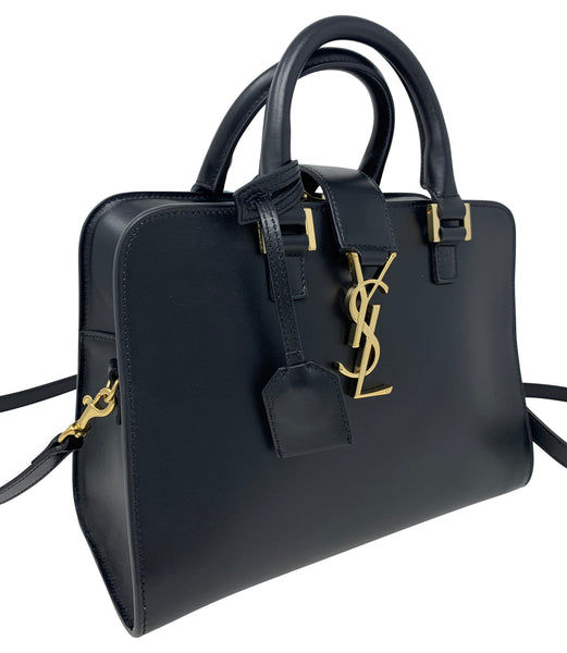 Saint Laurent Black smooth leather small cabas handbag