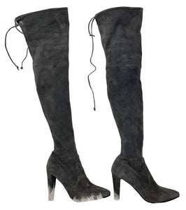Stuart Weitzman Over the Knee Boots Grey Suede size 38