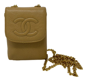 Chanel Card Holder On Chain Beige Handbag