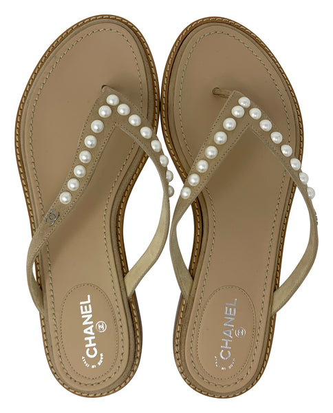 Chanel Thong Sandals with pearl details, size 38