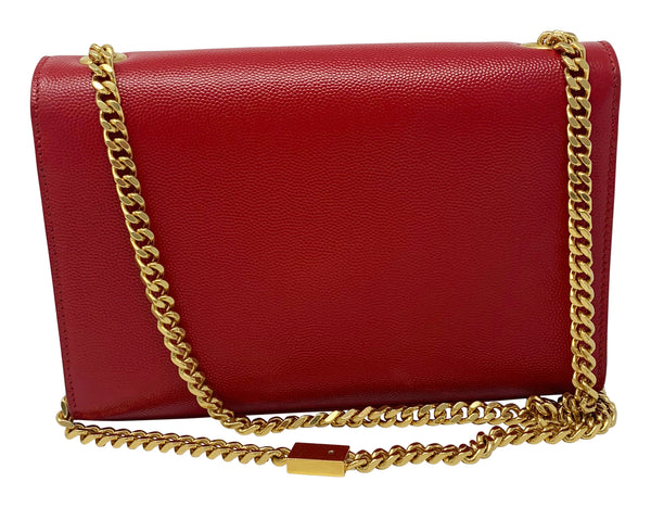 Saint Laurent Small Kate Red Grained Calfskin Handbag