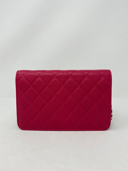 Chanel Caviar Quilted Golden Class Wallet On Chain Pink