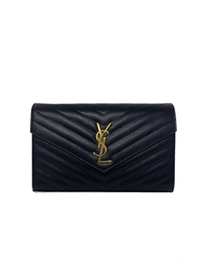 Saint Laurent Envelope Wallet On Chain Black Handbag