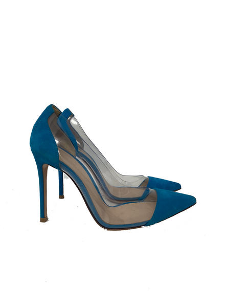 Gianvito Rossi Teal and Clear PVC size 36