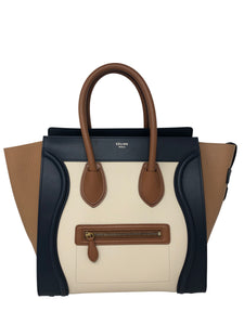 Celine Mini Luggage Tri Color Calfskin Handbag
