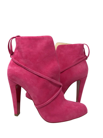 Christian Louboutin Pink Suede Booties Size 39.5