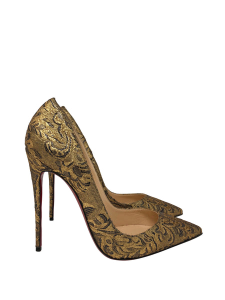 Christian Louboutin gold and black heels size 40