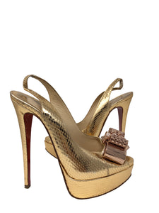 Christian Louboutin Heels Gold snakeskin with Bow Size 36