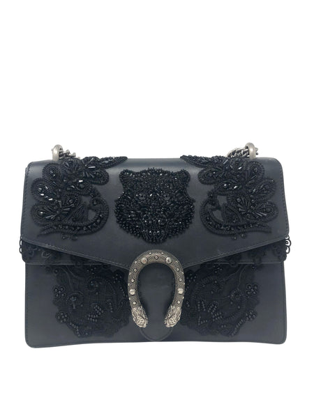 Gucci Medium Dionysus Black embroidery handbag