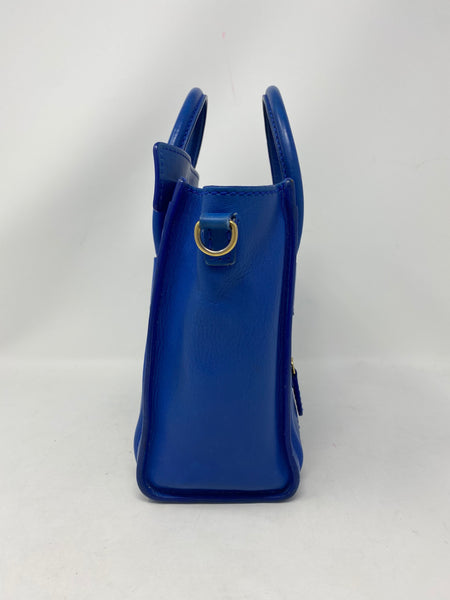 Celine Nano Luggage Blue Smooth Leather Handbag