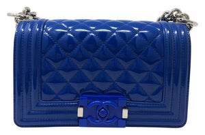 Chanel Small Boy Bag Blue Patent