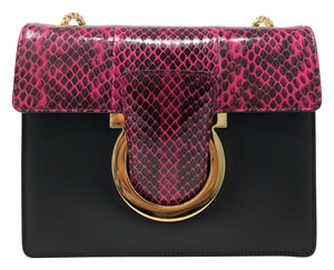 Salvatore Ferragamo Classic handbag black leather/pink snakeskin