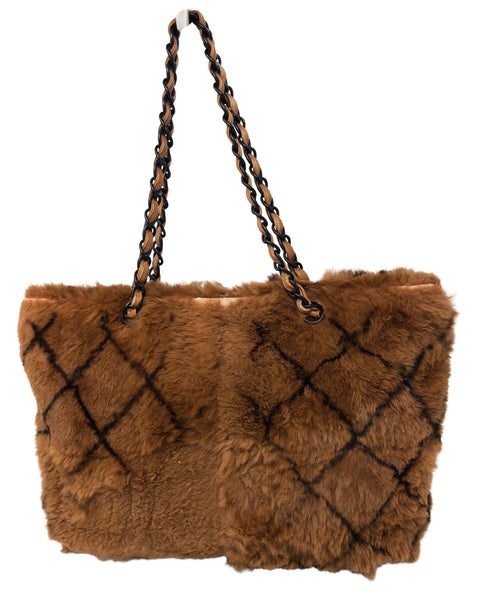 Chanel Brown fur tote bag