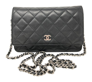 Chanel Quilted Lambskin Wallet On Chain Black