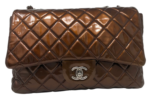 Chanel Metallic patent quilted jumbo single flap copper