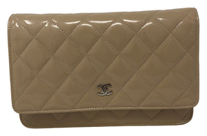 Chanel Quilted Wallet on Chain Patent Beige