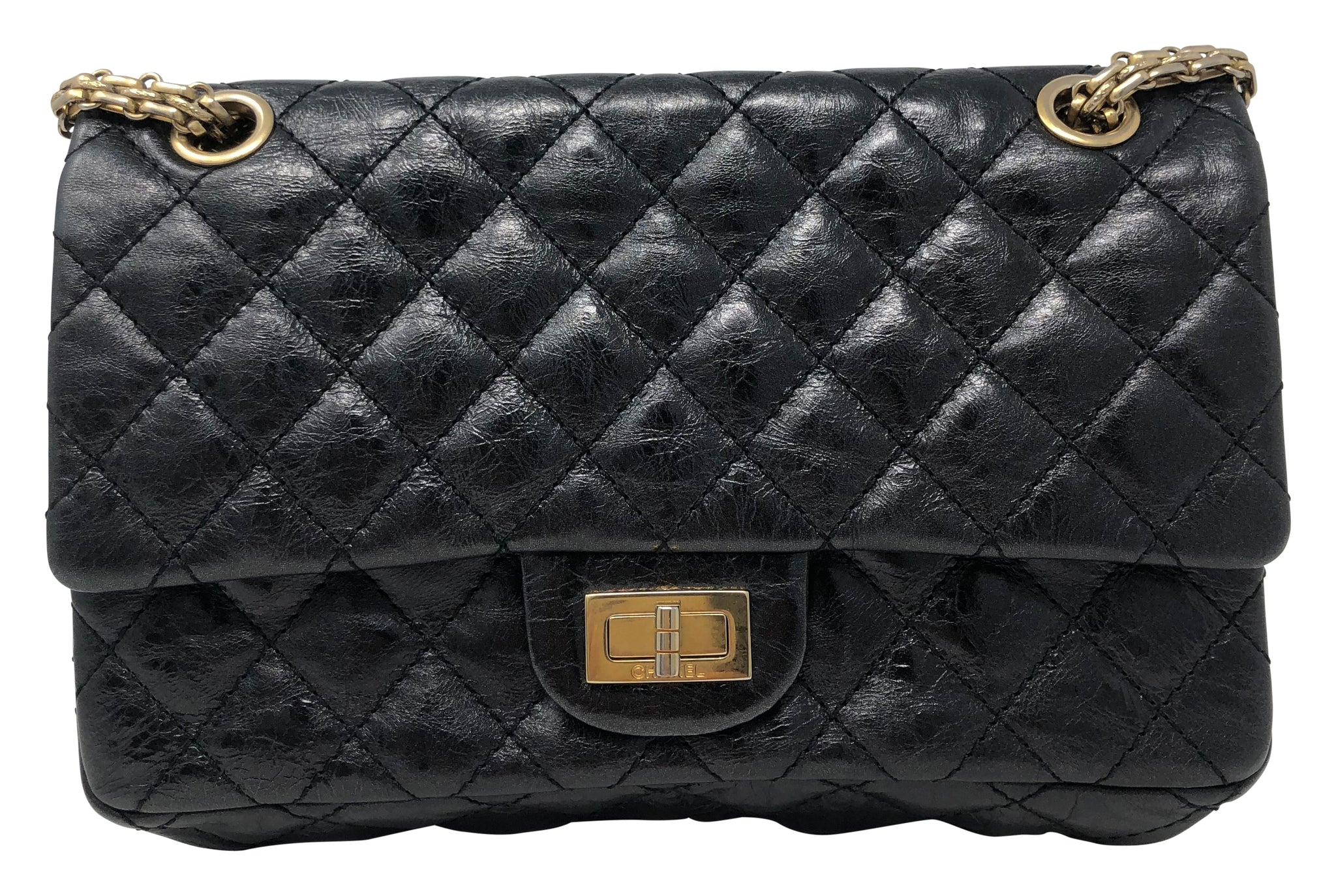 Chanel reissue flap 2.55 metallic black handbag