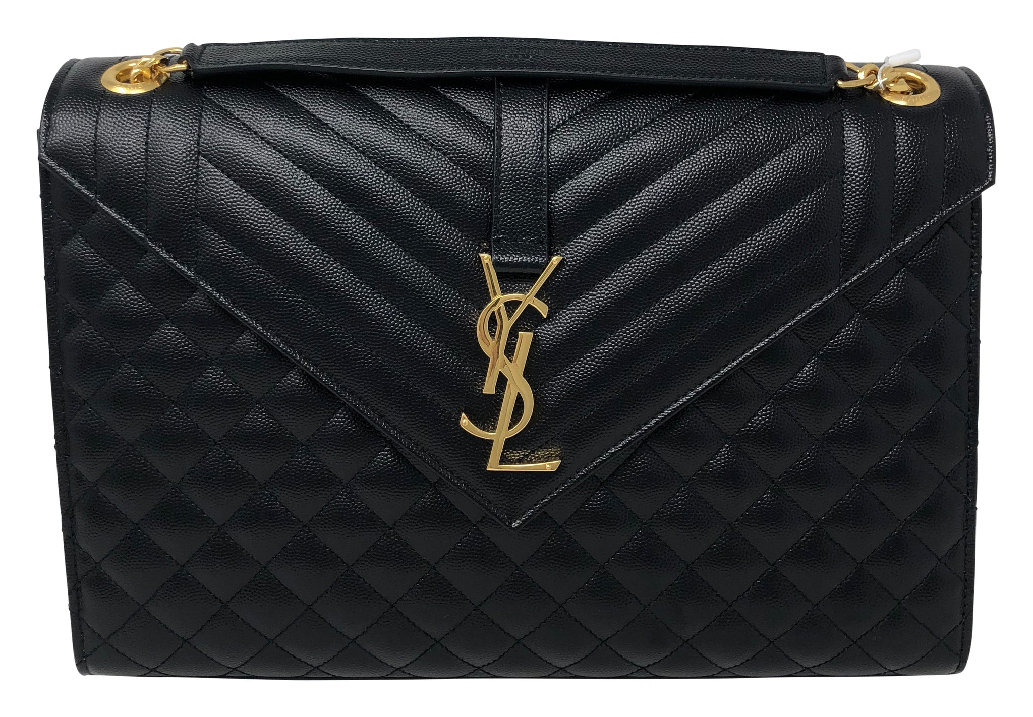 Saint Laurent Envelope Large bag in mixed Matelassé Grain De Poudre Embossed leather