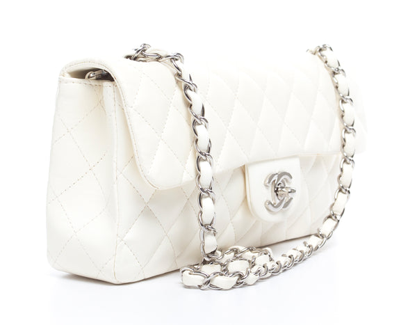 Chanel White Caviar E/W Medium Single Flap SHW