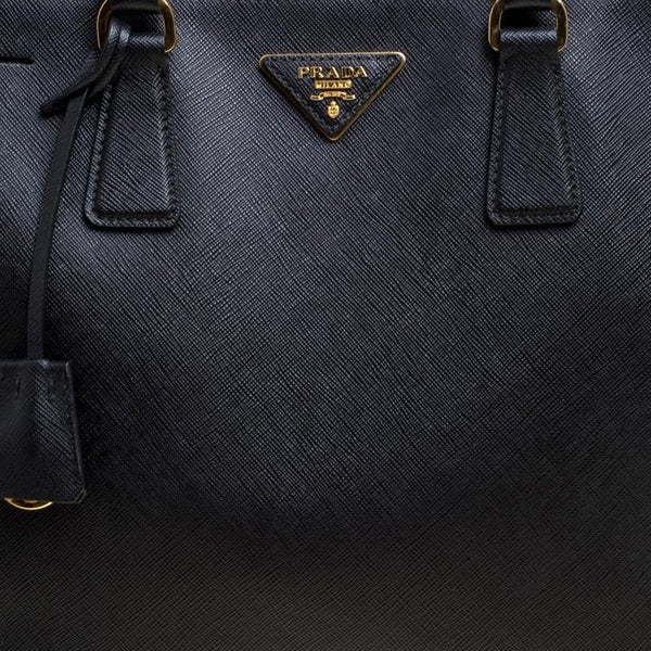 Prada Lux Leather Black Saffiano Double Zip Large Tote Bag