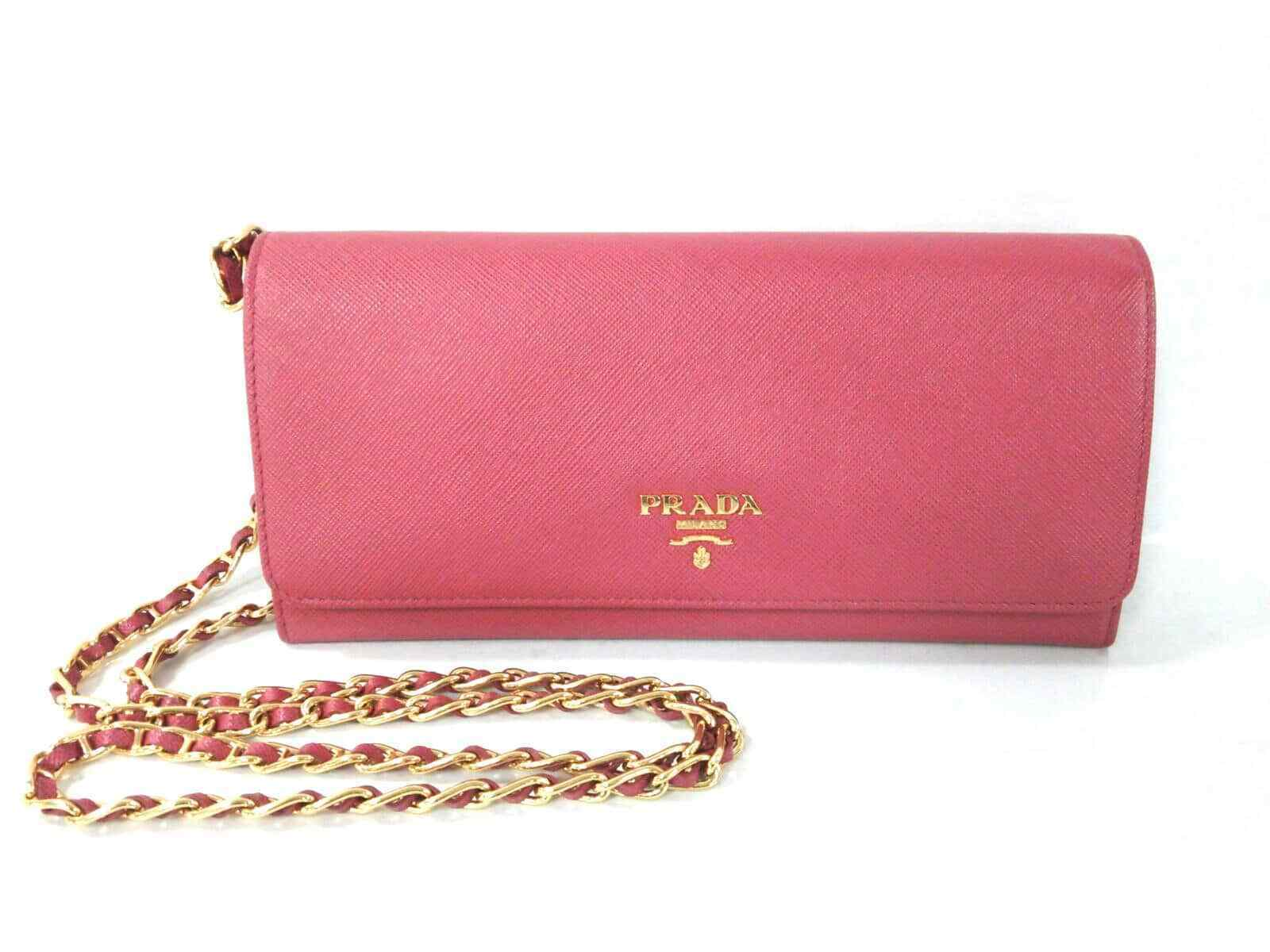 Prada Pink Saffiano Leather Chain Wallet WOC GHW