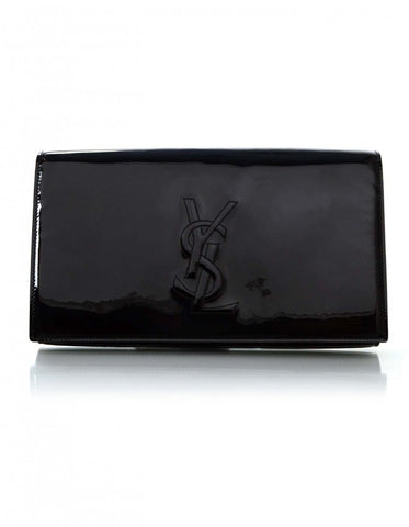 YSL Saint Laurent Black Patent Leather Monogramme Clutch Bag