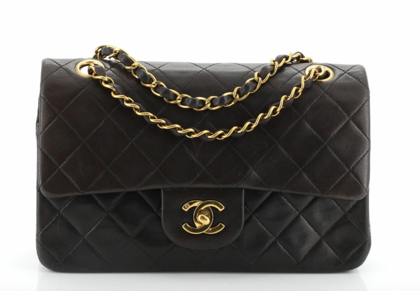 Chanel Medium Double Flap Vintage Black Lambskin Handbag