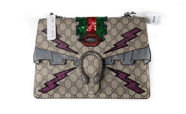 Gucci Monogram GG Medium Dionysus Shoulder Bag embroidered