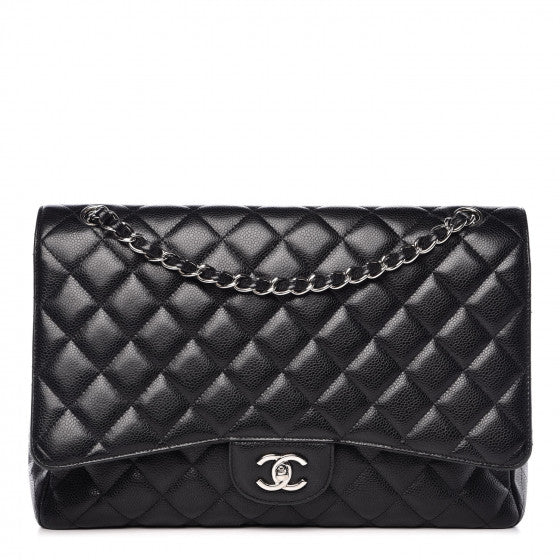 Chanel Black Caviar Quilted Maxi Single Flap