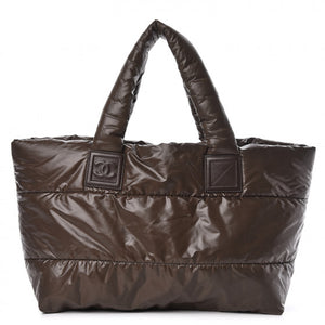 Chanel Nylon Quilted Coco Cocoon Reversible Tote Brown