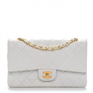0548dcc9e204 Chanel White Medium Lambskin Double Flap Bag GHW – Sacdelux