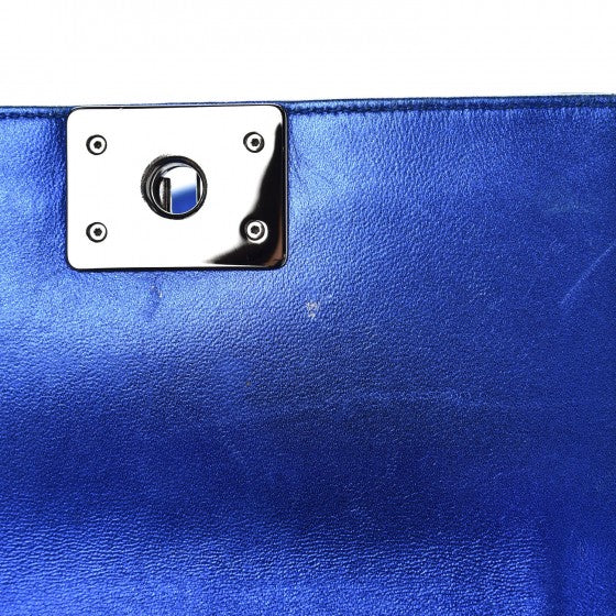 Chanel Metallic Patent Calfskin Quilted Small Boy Flap Blue