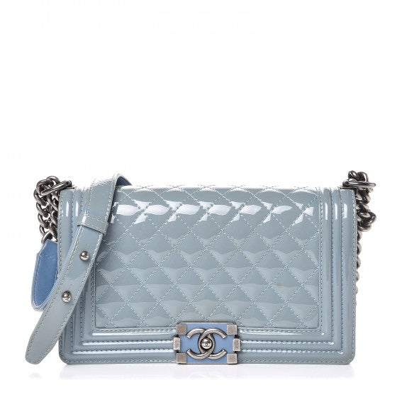 Chanel Patent leather Medium light blue Boy bag