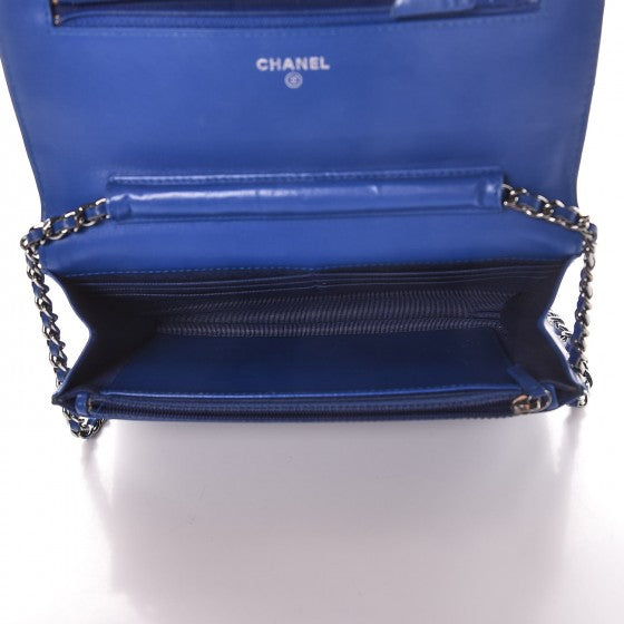Chanel Patent Quilted Wallet On Chain Blue