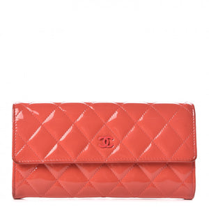 Chanel patent leather quilted wallet