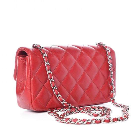 Chanel Lambskin Quilted super Mini Flap Red