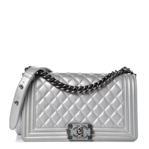 Chanel Silver Metallic Medium Boy Bag