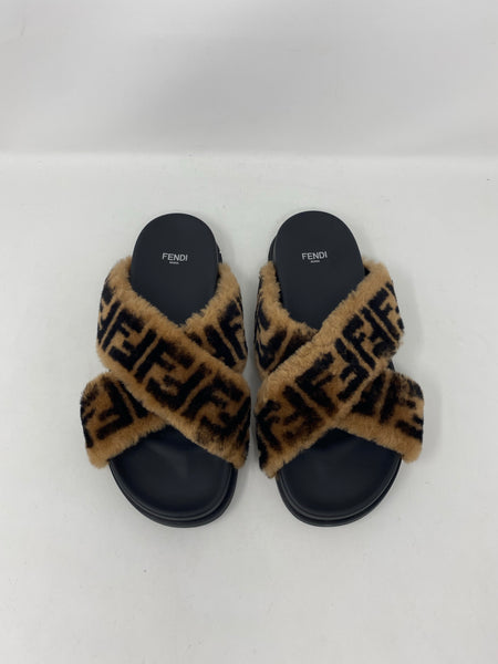 Fendi Brown Sheepskin Slides Size 39EU