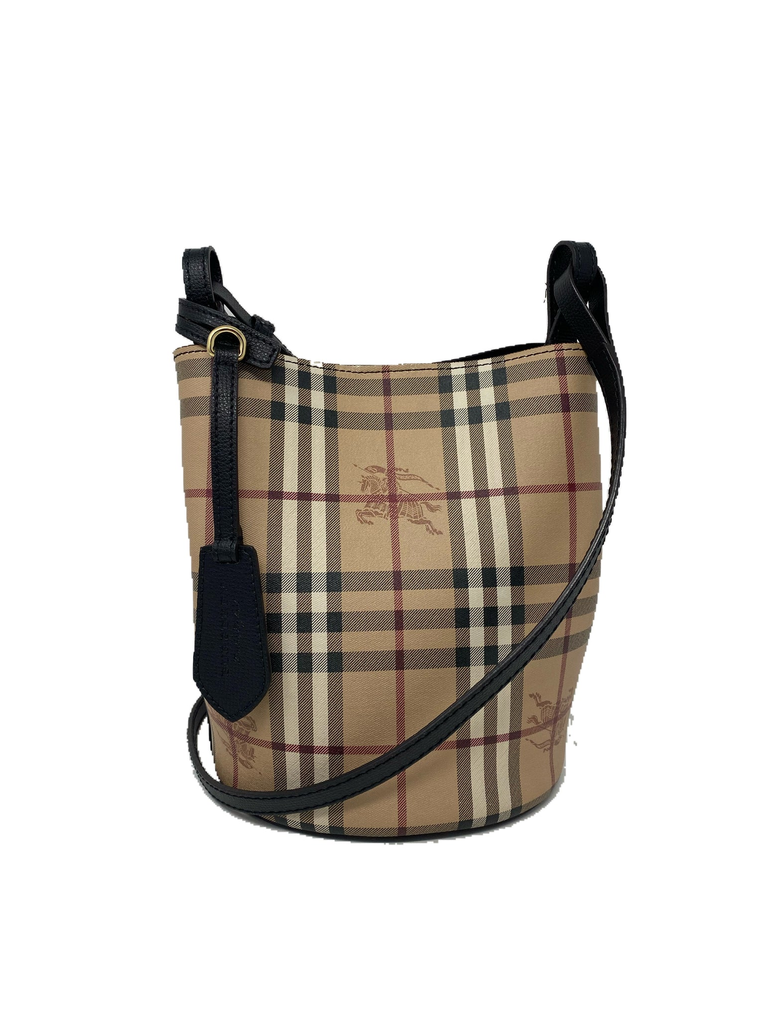 Burberry Leather and Haymarket Check Crossbody Bucket Bag Black