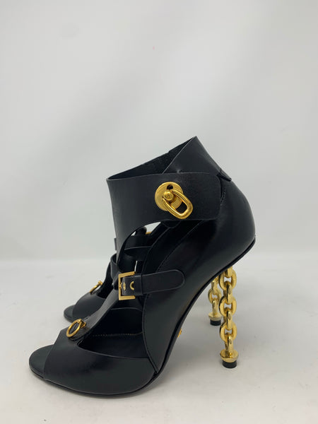 Tom Ford Black Buckled Chain Heel Cutout Sandal 37