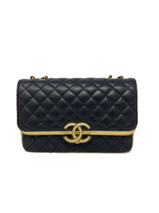 Chanel 19C seasonal double flap black/gold