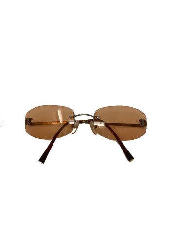 Chanel Vintage Rimless Sunglasses with CC brown/orange