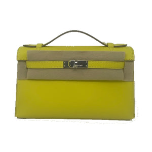Hermes Kelly Pochette Lime Swift Leather PHW