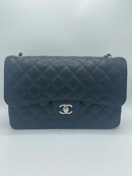 Chanel Jumbo Double Flap Black Caviar Leather SHW