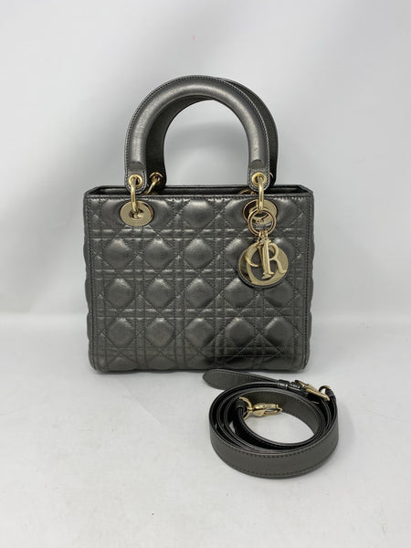 Dior Medium Lady Dior Metallic Steel Grey Handbag