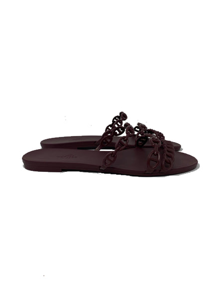 Rubber Chaine d'Ancre Rivage Sandals 39 Burgundy