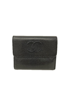 Chanel Caviar Timeless CC Compact Tri-Fold wallet Black
