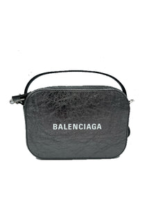Balenciaga Metallic Calfskin XS Everyday Top Handle Camera Bag Metallic Grey